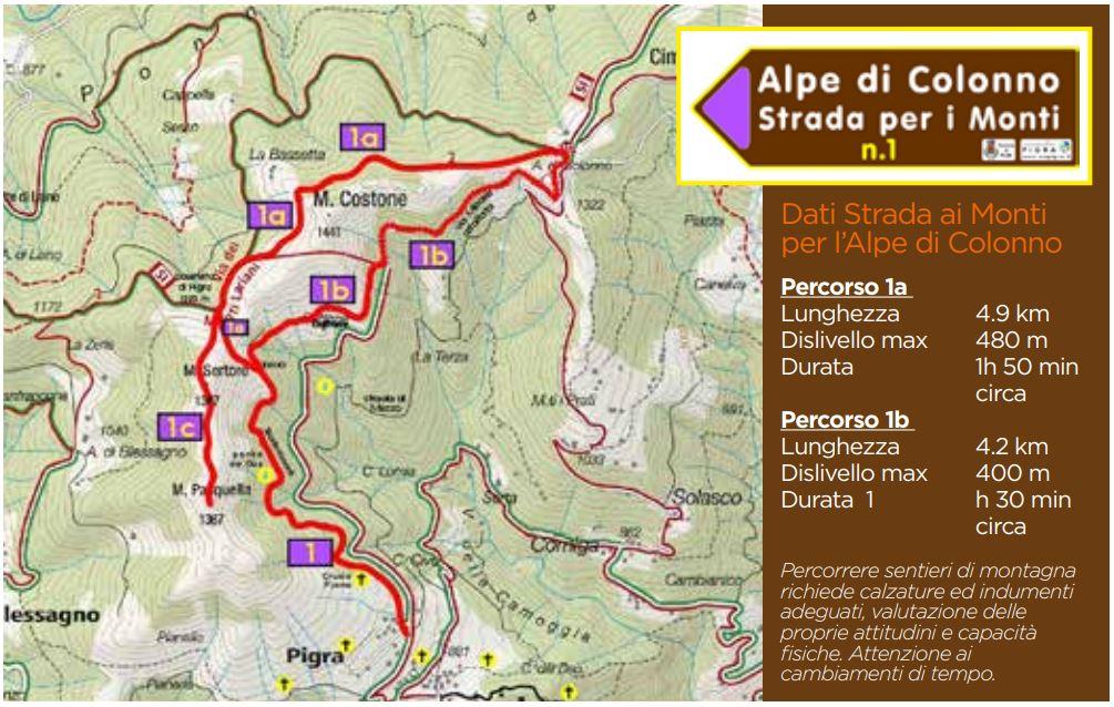 Pigra: mappa sentiero panoramico 1