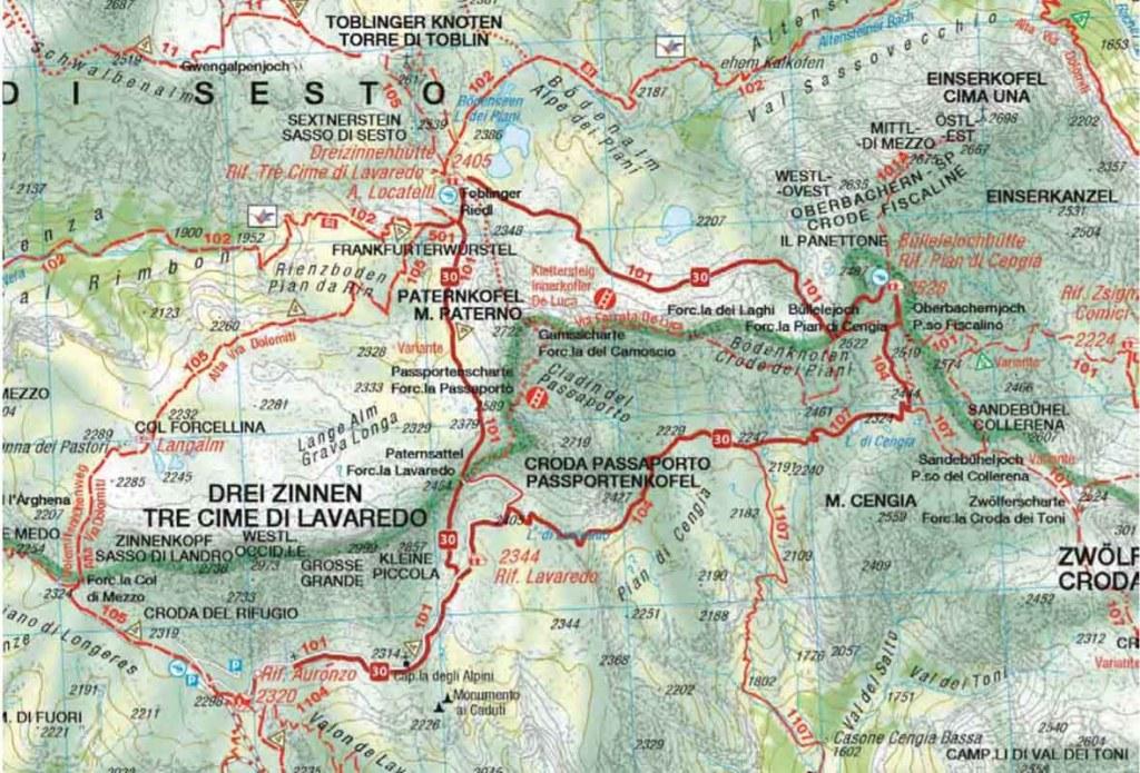 Tre Cime di Lavaredo: Mappa dei sentieri