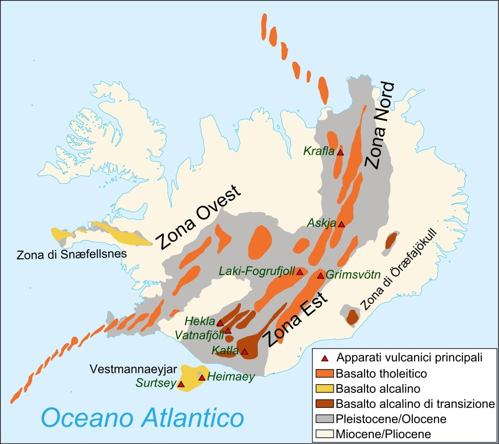 Sistema vulcanico in Islanda