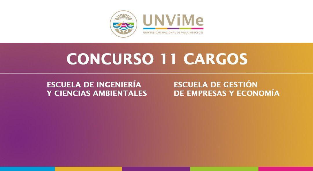 Llamado a  CONCURSO de once nuevos cargos docentes en la UNViMe