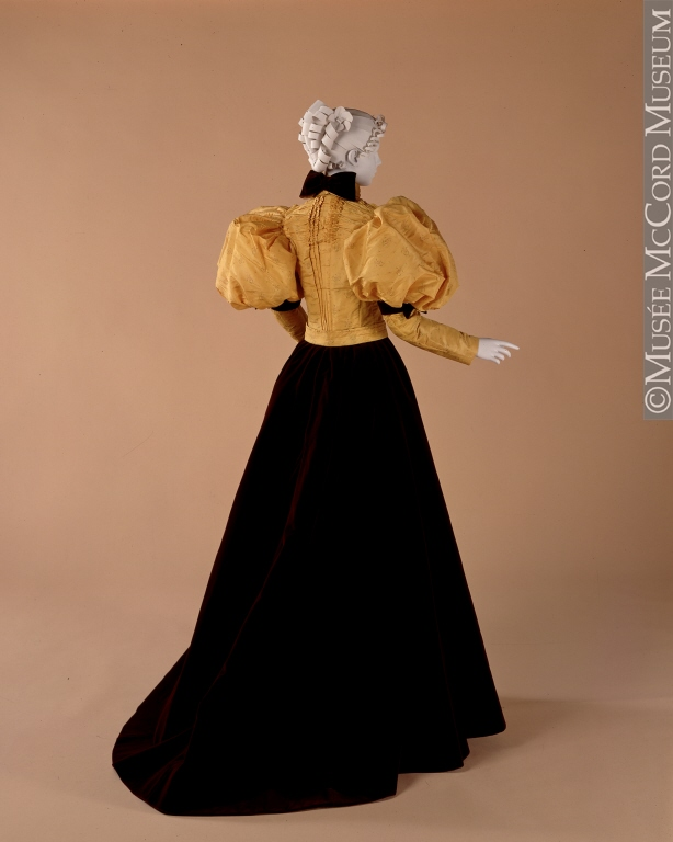 Bodice, About 1894-1897, Fibre: silk (taffeta, velvet), cotton (lining); metal; Sewn (hand), Gift of the Estate of the Late Mrs. R. S. Logan, McCord Museum, M19789.1 CC by 2.5