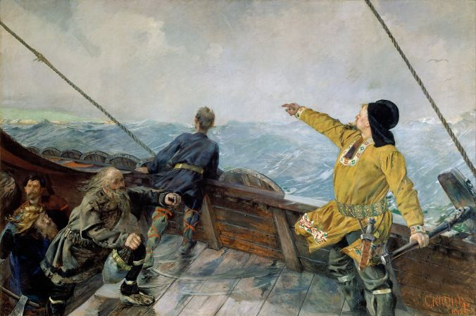 """Leiv Eirikson discovering America"" (1893), by Christian Krohg [Public domain], via Wikimedia Commons"