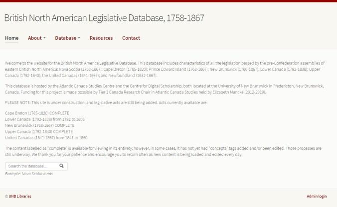 Home page of the BNA legislation database