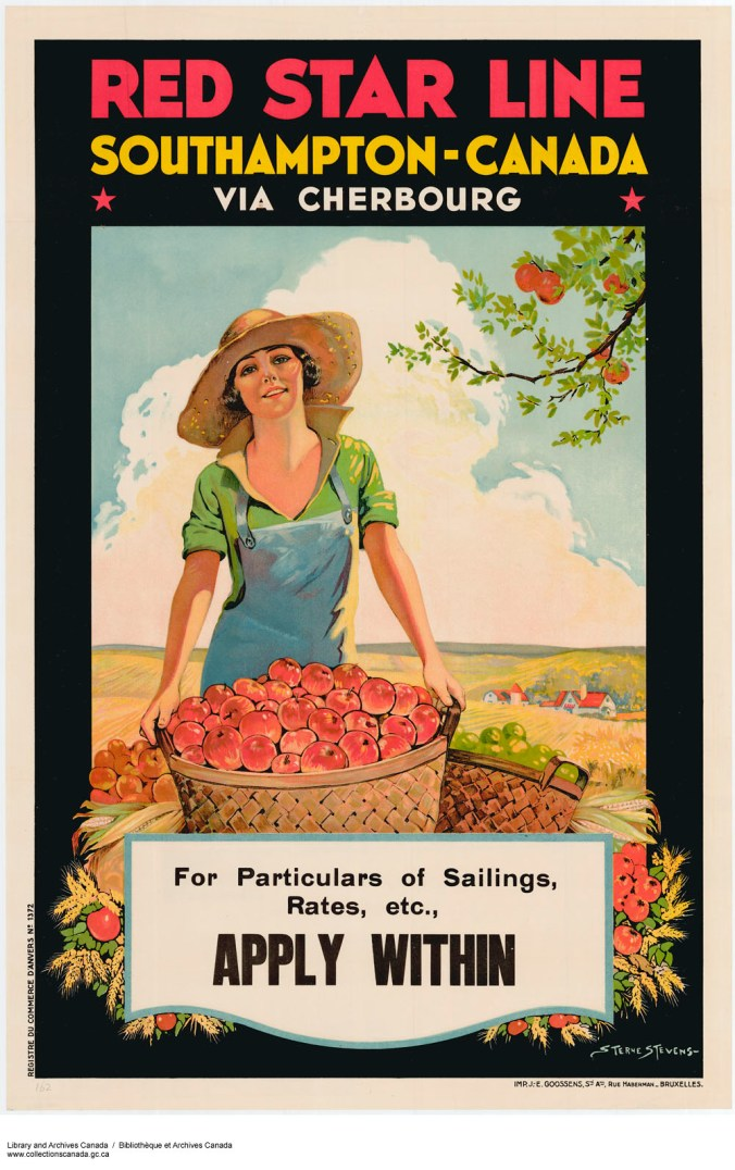 Image of a woman holding a basket of apples while standing in an orchard.