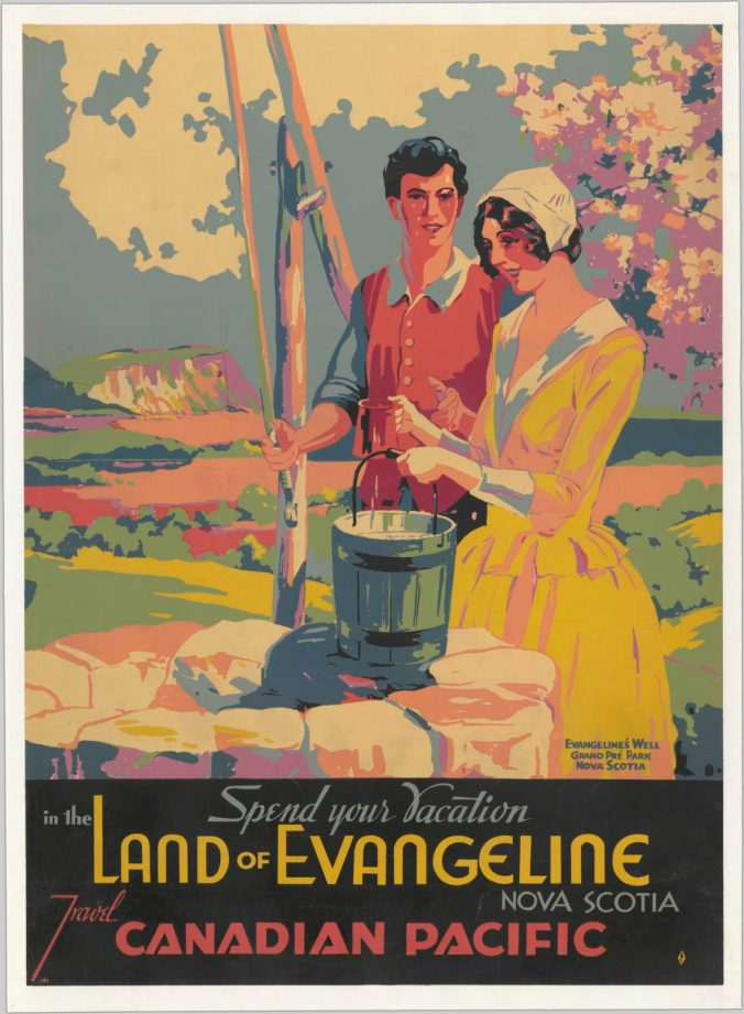 Image of a man and a woman standing at a well. They are dressed in an 18th century style, and are supposed to represent characters from the poem Evangeline. This is a travel poster advertising a trip to Nova Scotia via Canadian Pacific.