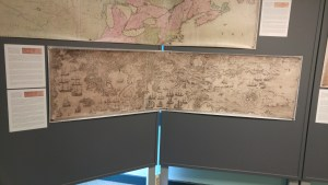 Image of a map of Louisbourg exhibited at the Conference, taken by author.