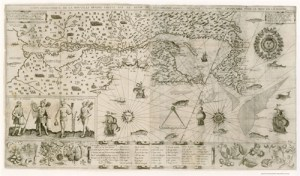 Image of Samuel de Champlain's 1613 map of New France, from Wikipedia Commons