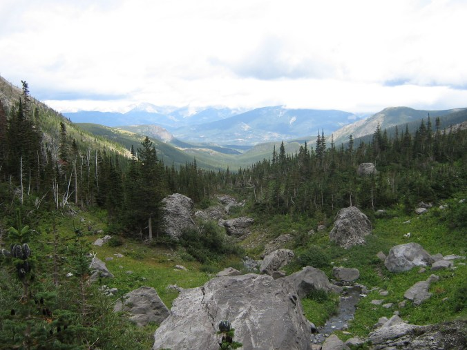 An image of Crow's Nest Pass, during the spring or summer. There are rocky outcroppings in the foreground, a green valley in the middle, and the Rocky Mountains in the distance, with some cloud cover.