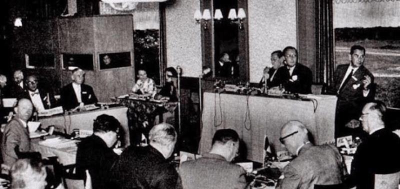 Prince Bernard presides over the first annual Bilderberg meeting in 1954.