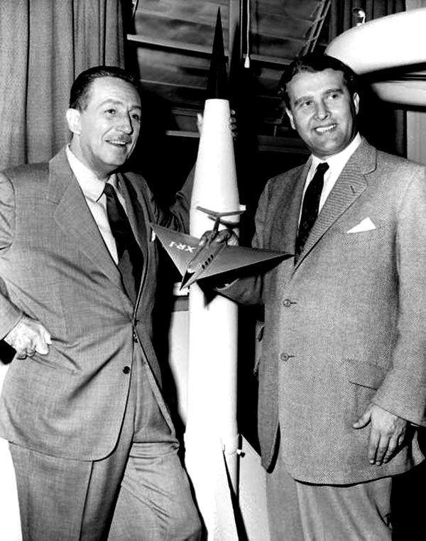 """Walt Disney with Wernher von Braun, """"Father of Rocket Science"""", in 1954"""