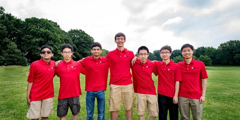 Team members: Ankan Bhattacharya, Michael Kural, Allen Liu, Junyao Peng, Ashwin Sah and Yuan Yao. All six team members received individual gold medals, and Liu and Yao earned perfect scores.