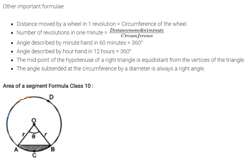 Areas Related to Circles Formulas for Class 10 Q4