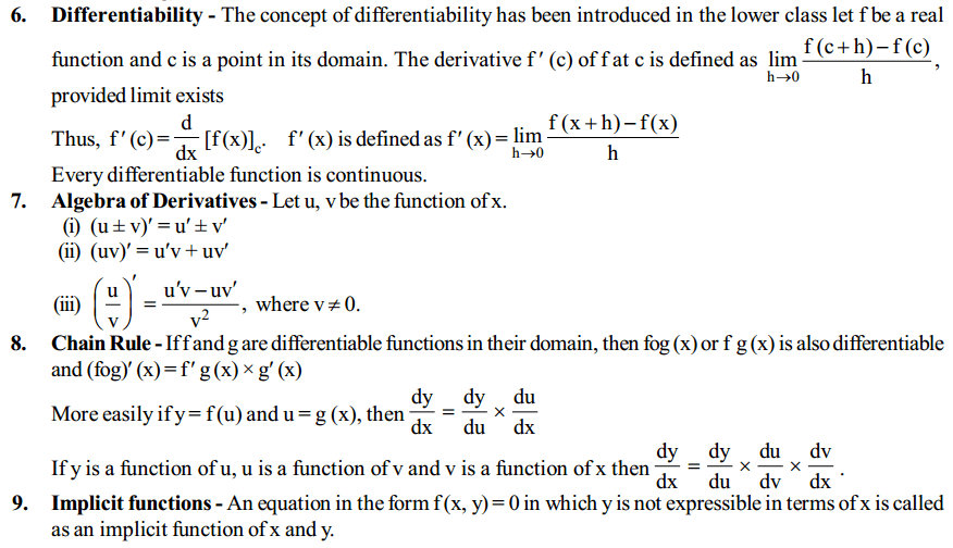 Continuity and Differentiability Formulas for Class 12 Q2