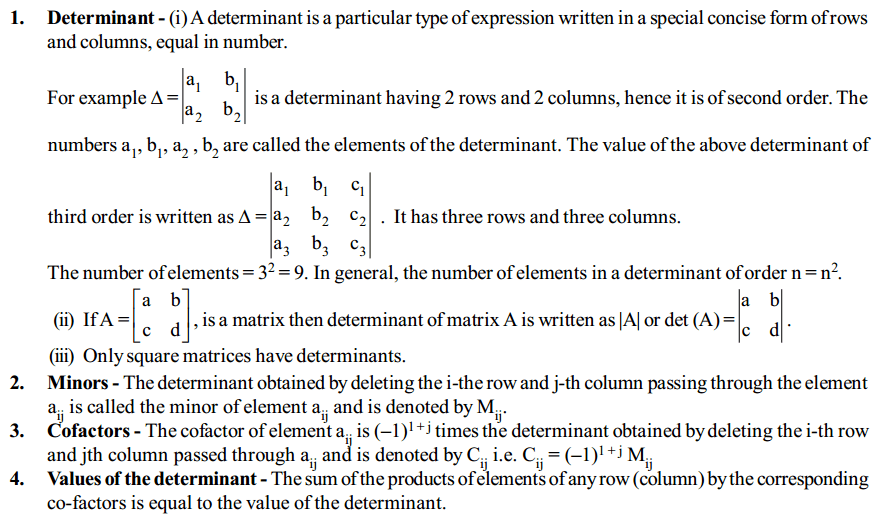 Determinants Formulas for Class 12 Q1