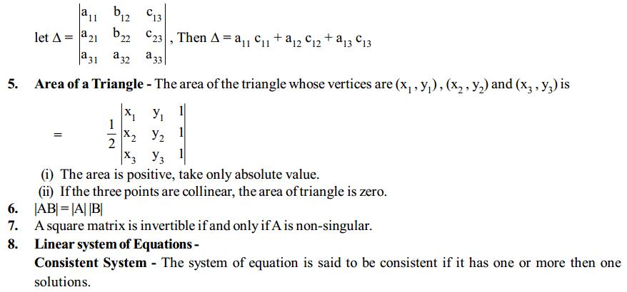 Determinants Formulas for Class 12 Q2