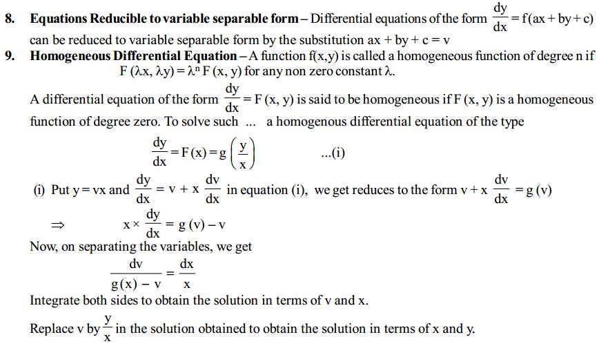 Differential Equations Formulas for Class 12 Q2