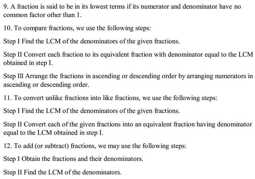 Fractions and Decimals Formulas for Class 7 Q2