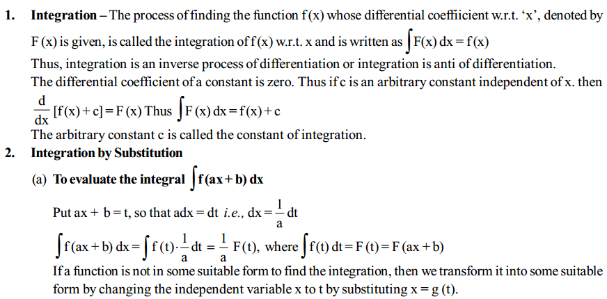 Integrals Formulas for Class 12 Q1