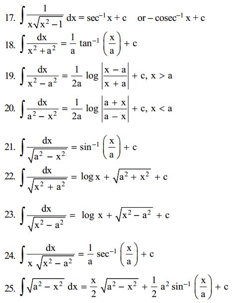 Integrals Formulas for Class 12 Q11
