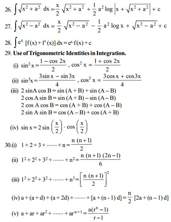 Integrals Formulas for Class 12 Q12
