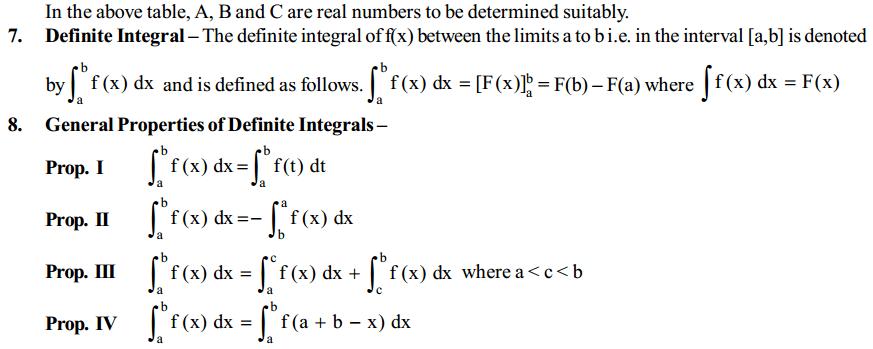 Integrals Formulas for Class 12 Q7