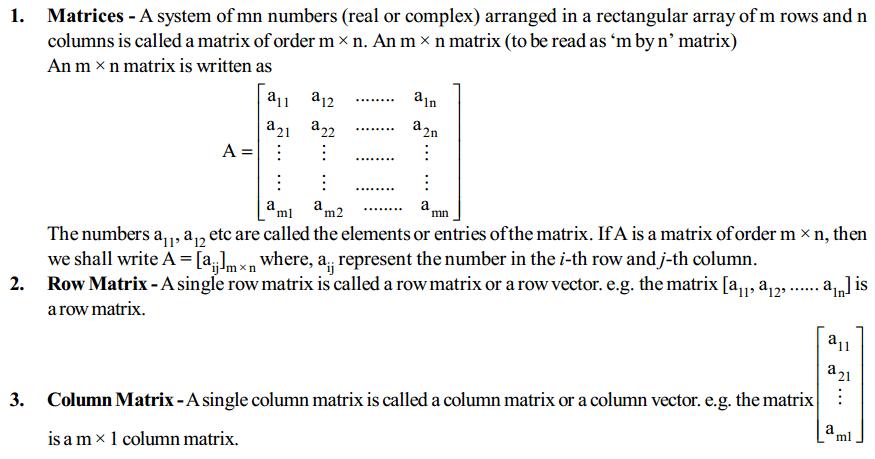 Matrices Formulas for Class 12 Q1
