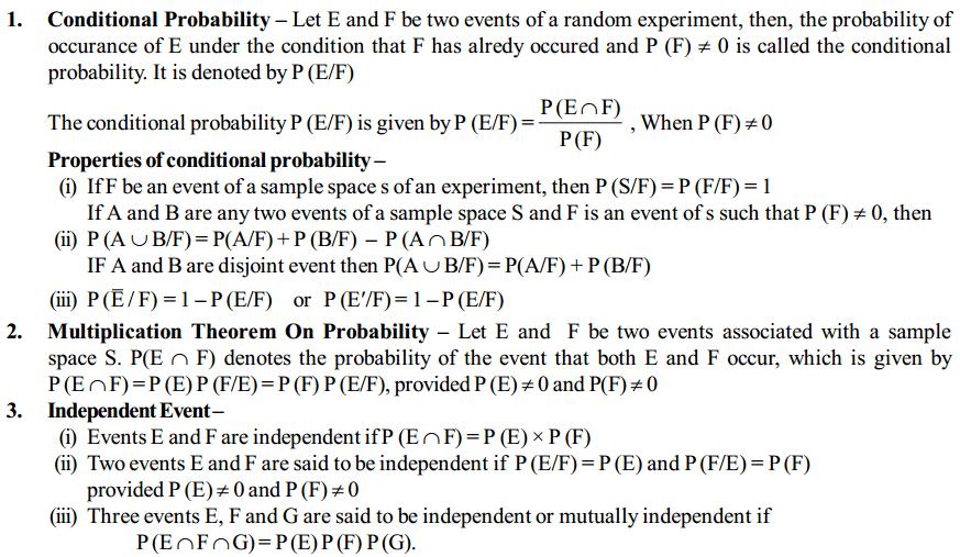 Probability Formulas for Class 12 Q1
