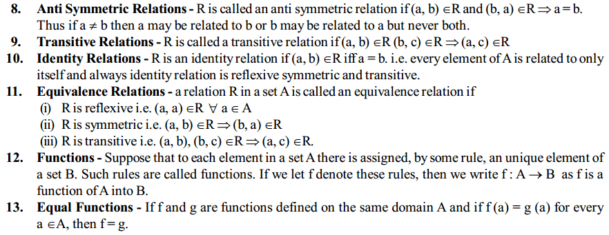 Relations and Functions Formulas for Class 12 Q2