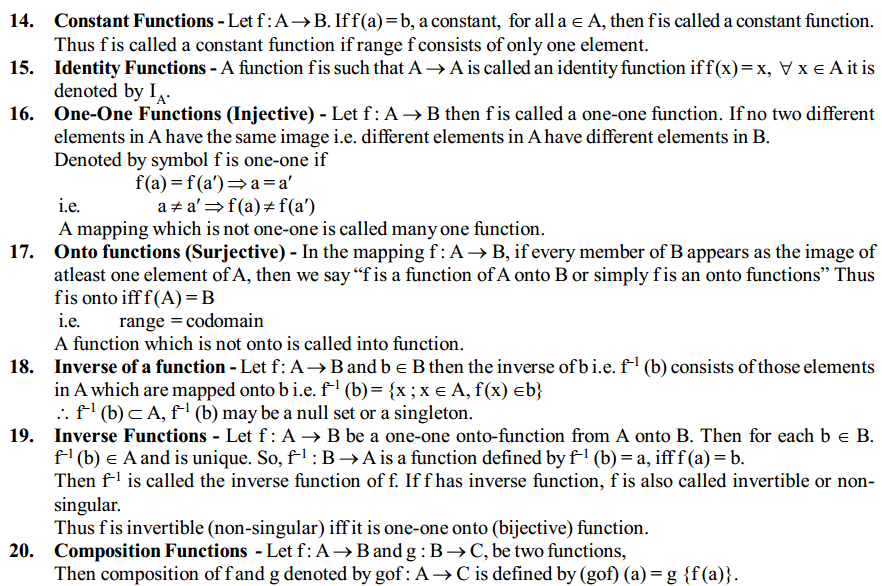 Relations and Functions Formulas for Class 12 Q3