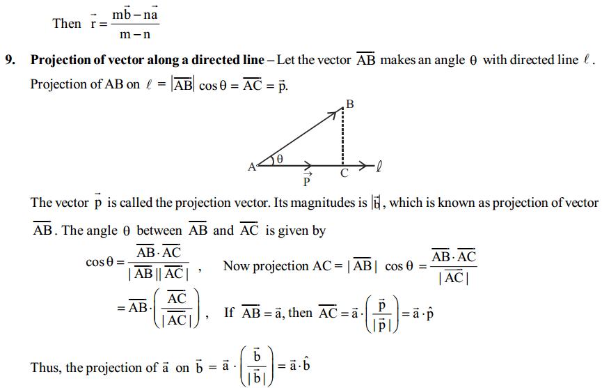 Vector Algebra Formulas for Class 12 Q7