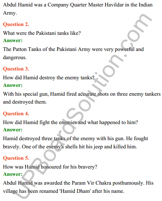 UP Board Class 8 English Solutions Rainbow Chapter 7 Veer Abdul Hamid 3