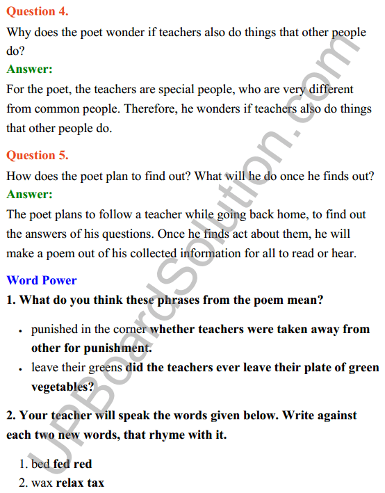 UP Board Class 8 English Solutions Rainbow Chapter 9 Where do all the Teachers Go 3