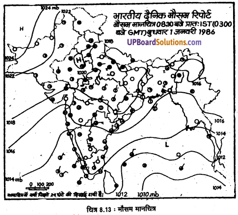 UP Board Solutions for Class 11 Geography Practical Work in Geography Chapter 8 Weather Instruments. Maps and Charts(मौसम यंत्र, मानचित्र तथा चार्ट) img 10