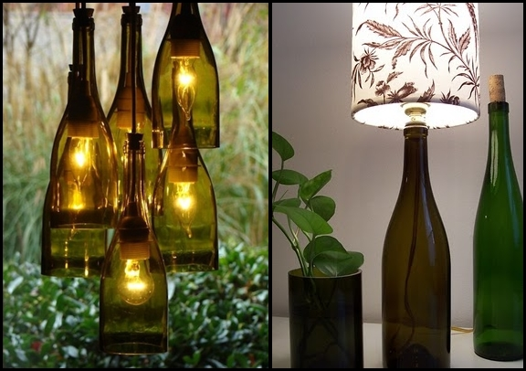 reciclar botellas de vidrio de vino que cuelgan de la lámpara DIY florero de mesa de noche