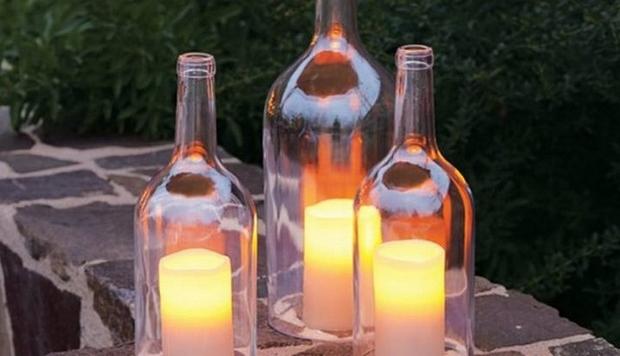 reutilizados botella de vino de la vela linterna de jardín creativa idea de la decoración