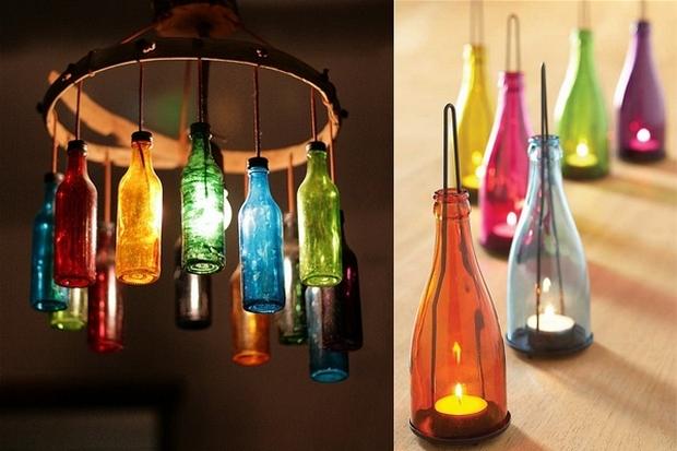 reutilizados vino botellas lámpara colgante colorido de la vela de bricolaje