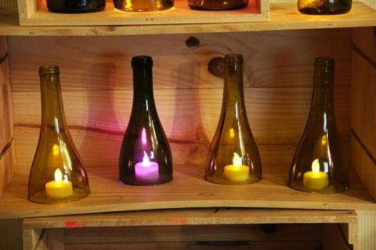 botellas de vidrio reutilización caseros creativos de la vela llevado inspiradoras ideas de bricolaje estante de madera