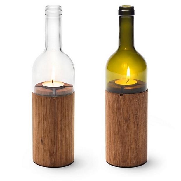 botellas de vidrio reutilización creativa de la vela titular de la decoración de madera