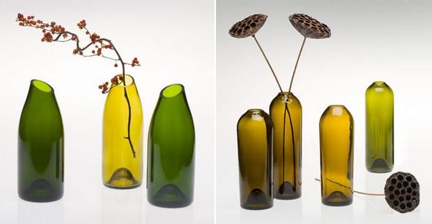 reutilizar las botellas de vino cortar el cuello de la flor del hogar del florero ideas inspiradoras