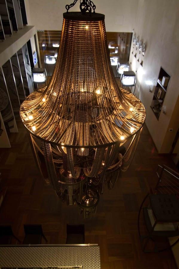 lámparas de araña de la cadena de la bicicleta del arte reutilización de piezas de la bicicleta de la decoración salón de edad