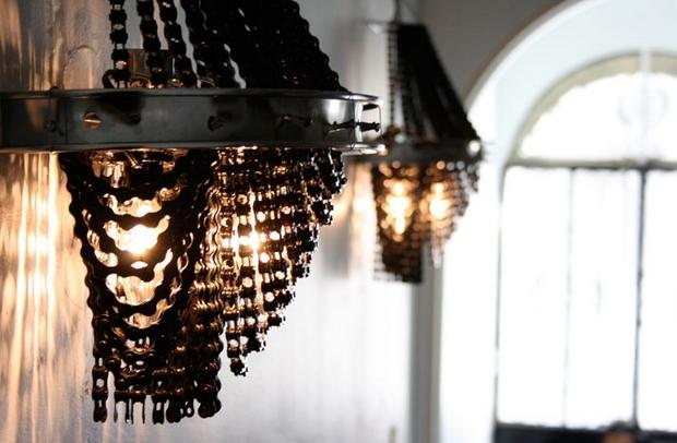 reutilizar cadena de bicicleta vieja decoración del arte lámpara de pared
