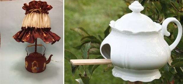 reutilizar viejas teteras de porcelana blanca Ideas birdhouse bricolaje de jardín