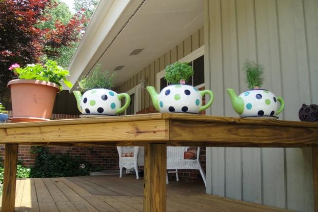 reutilizar teteras las ideas de tabla mini jardín Ideas de decoración de colores de flores pieza central del jardín