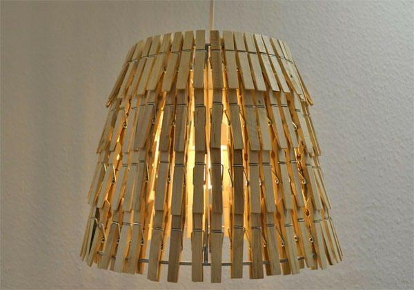 reutilizado vieja pinza de la ropa interior de la decoración del arte de la lámpara de bricolaje