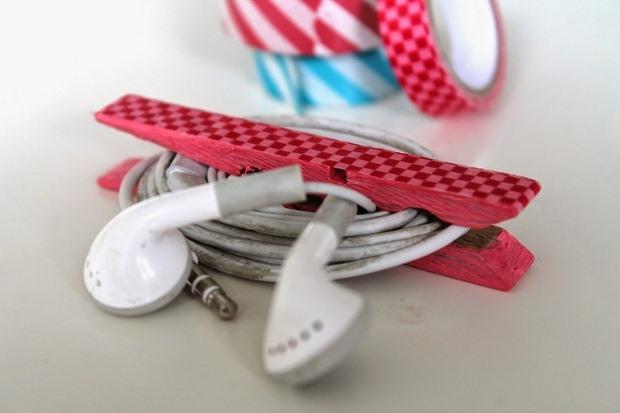 pinza de la ropa hecha a mano artesanía earbuds Upcycling organizador de cable