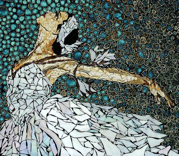 reutilización cáscara de huevo del mosaico del arte del bailarín de ballet pintura creativa