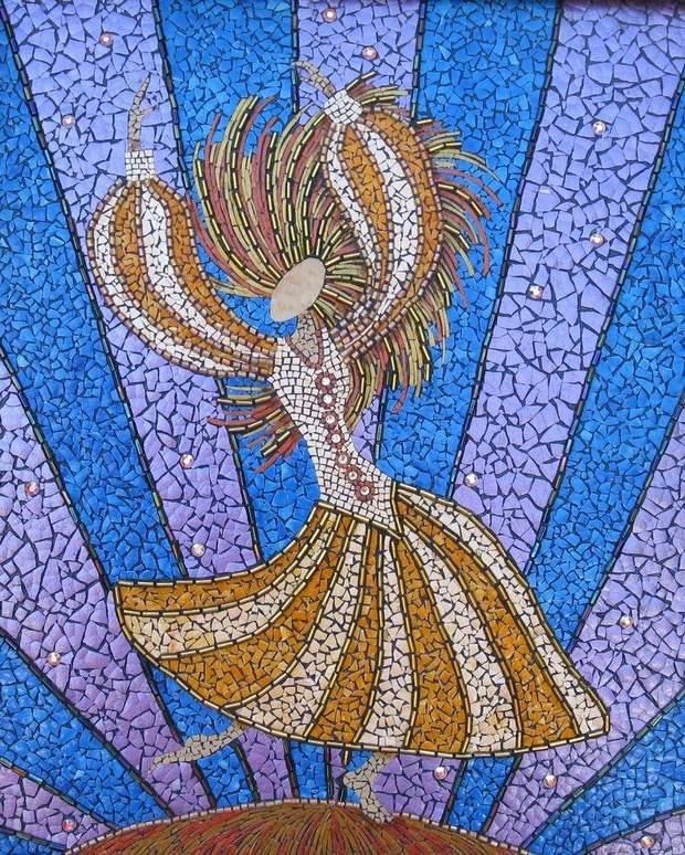 reutilizar el arte del mosaico de la bailarina pintura bricolaje cáscara de huevo