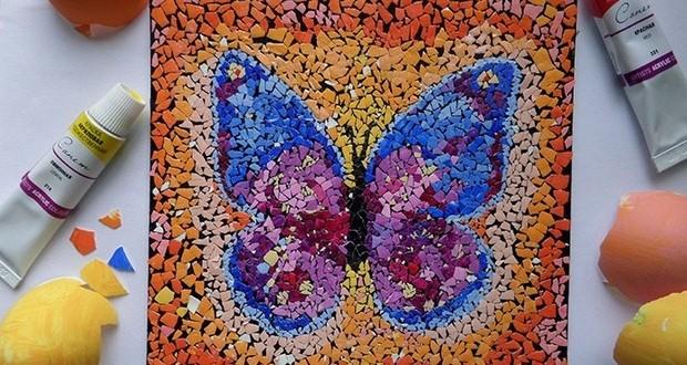 reutilizar-cáscara del huevo-mosaico-arte-bricolaje-mariposa-Pascua-decorar-Ideas
