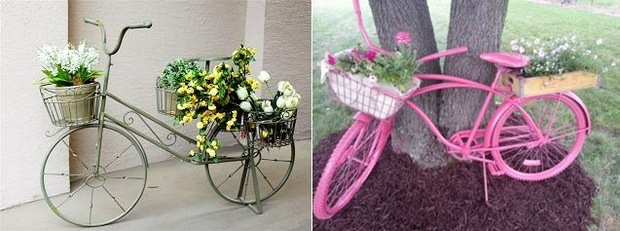 Upcycling Bikes in the Garden   14 Ideas for Bicycle Planters repurposed bike used as garden decoration with flowers