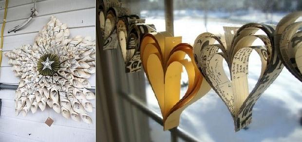 página del libro ornamentos de Navidad en forma de corazón DIY de papel de decoración guirnalda